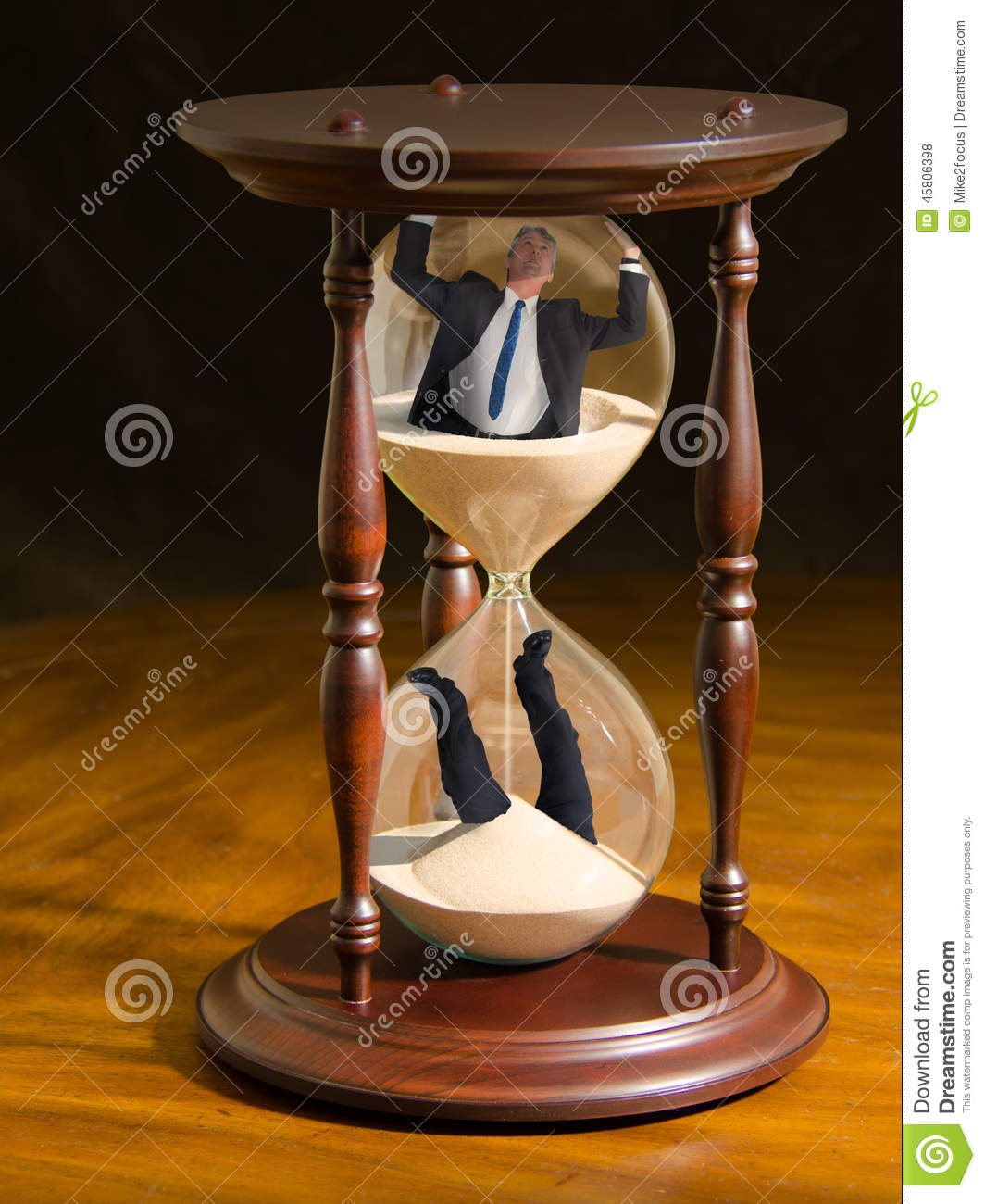 Running Out Of Time Hour Glass With Man Inside Stock Photo - Image ...