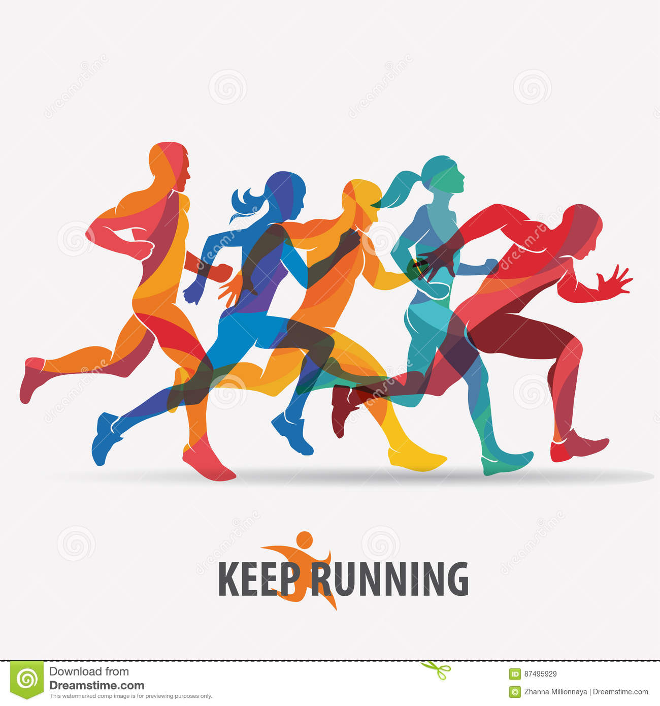 Running People Set Of Silhouettes Stock Vector ...