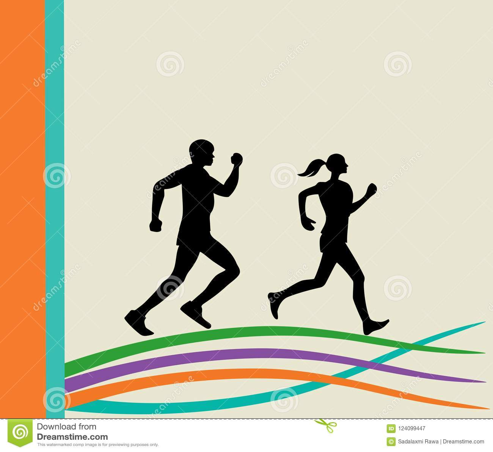 Running people silhouette