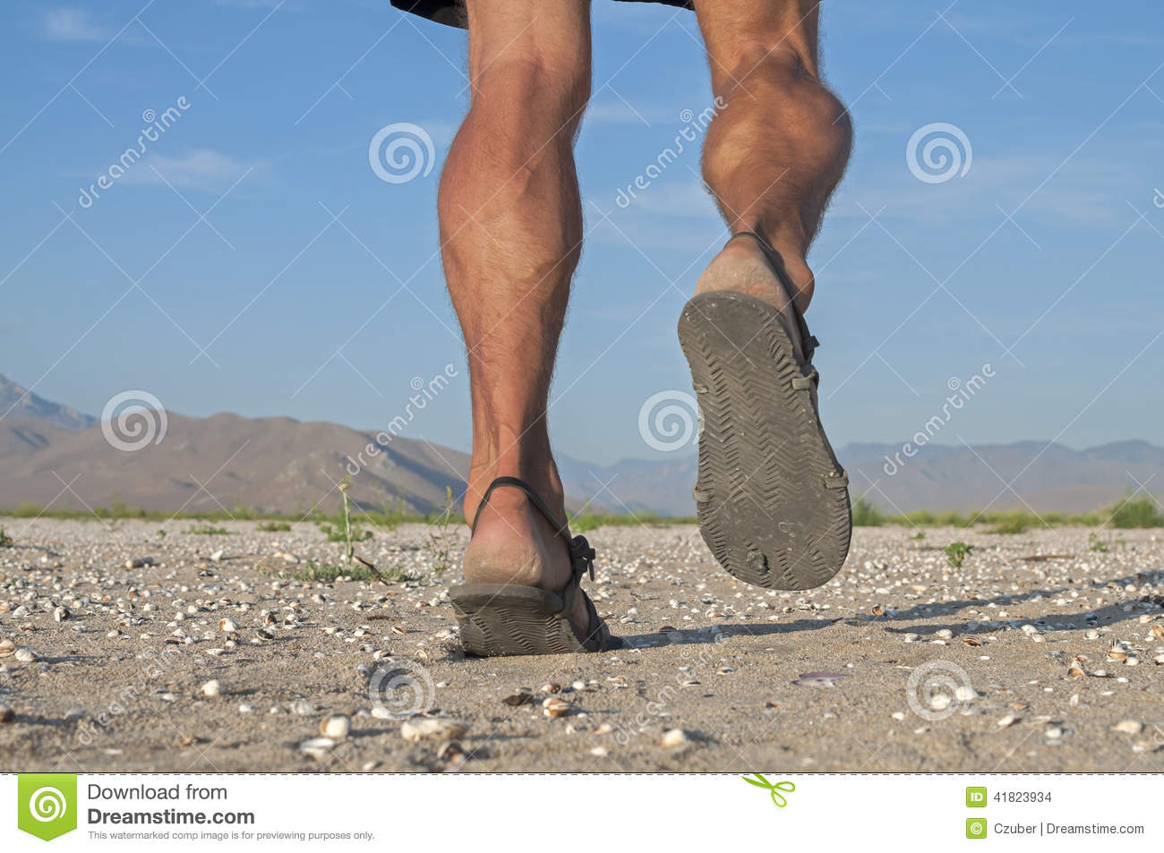 Running in sandals stock photo  Image of achilles, ankles