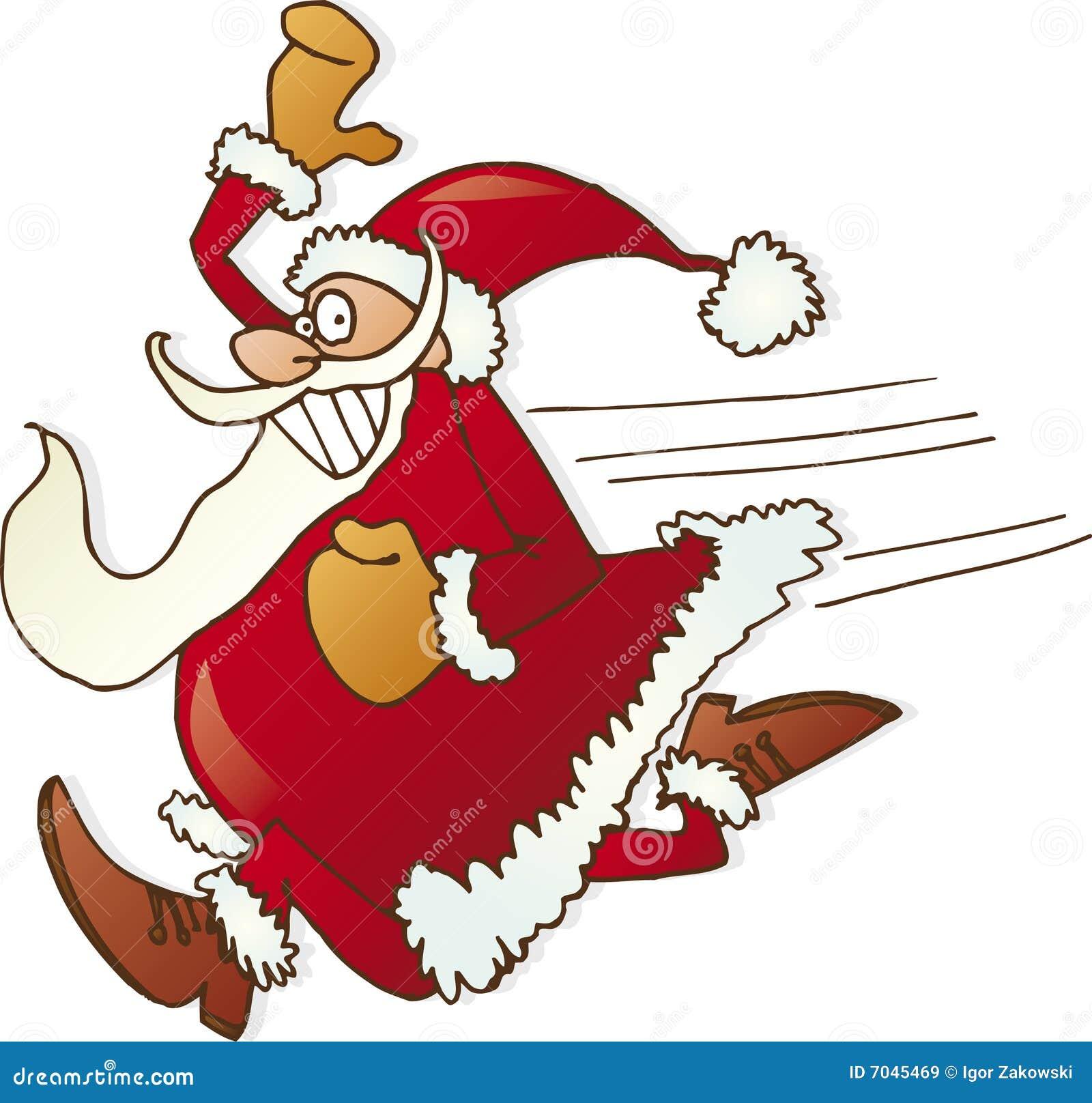 Royalty Free Stock Images  Running santa clausSanta Jogging