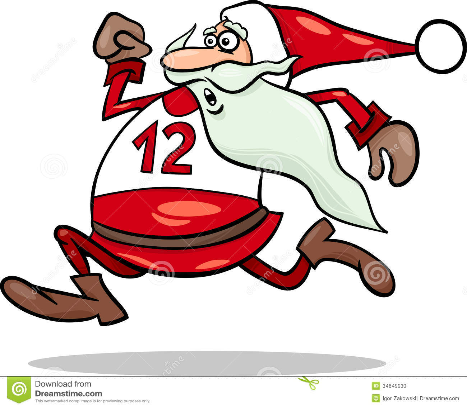 Cartoon Illustration of Funny Running Santa Claus Character Santa Jogging
