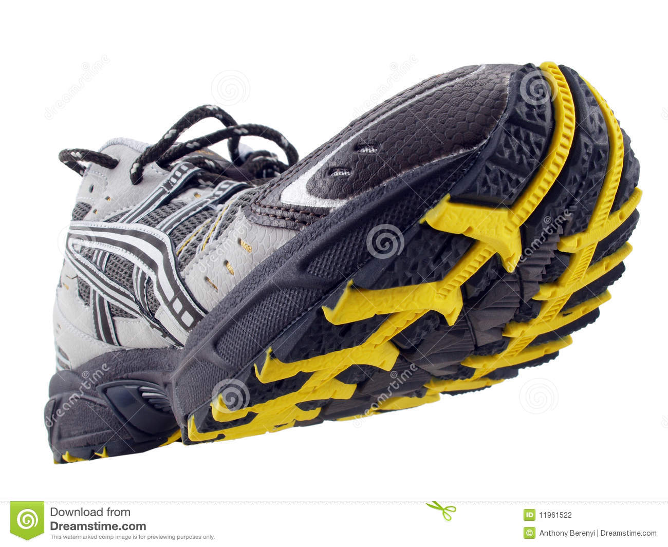Running Shoe Yellow Black Tread Pattern Tilted Up Stock ...