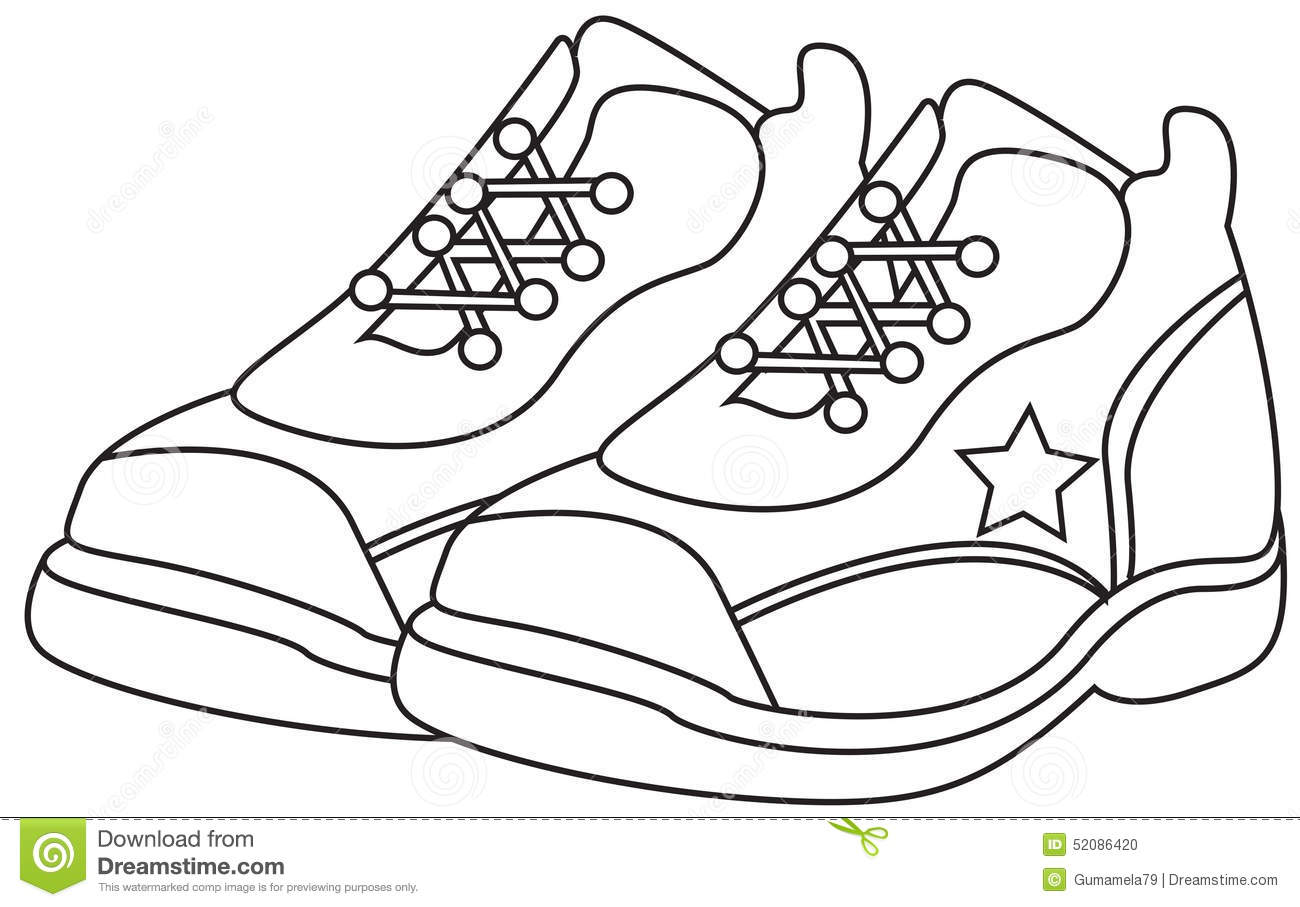 running shoes coloring page stock illustration illustration of