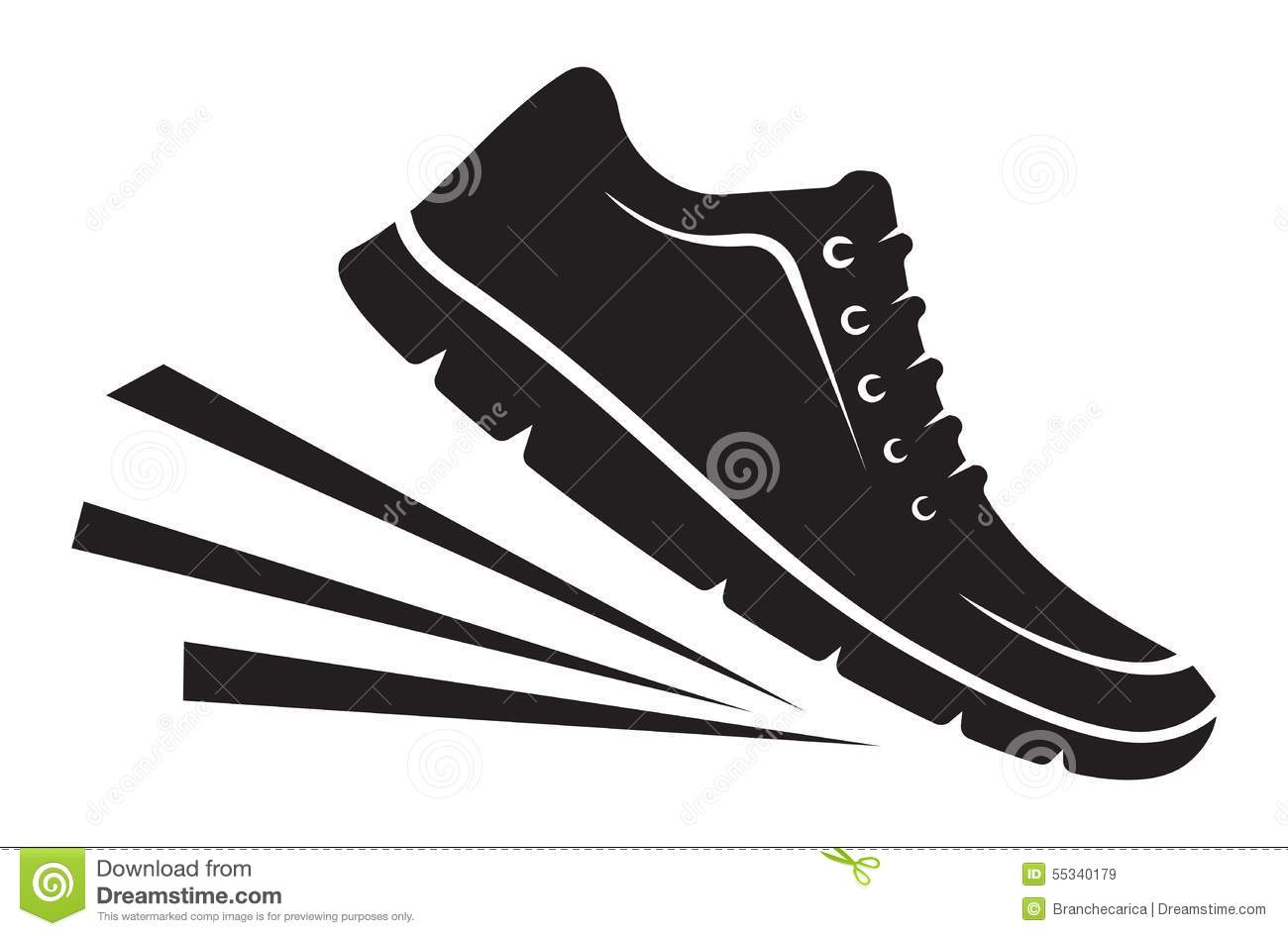 Running Shoe Silhouette Vector running shoes foot print stock photos ...