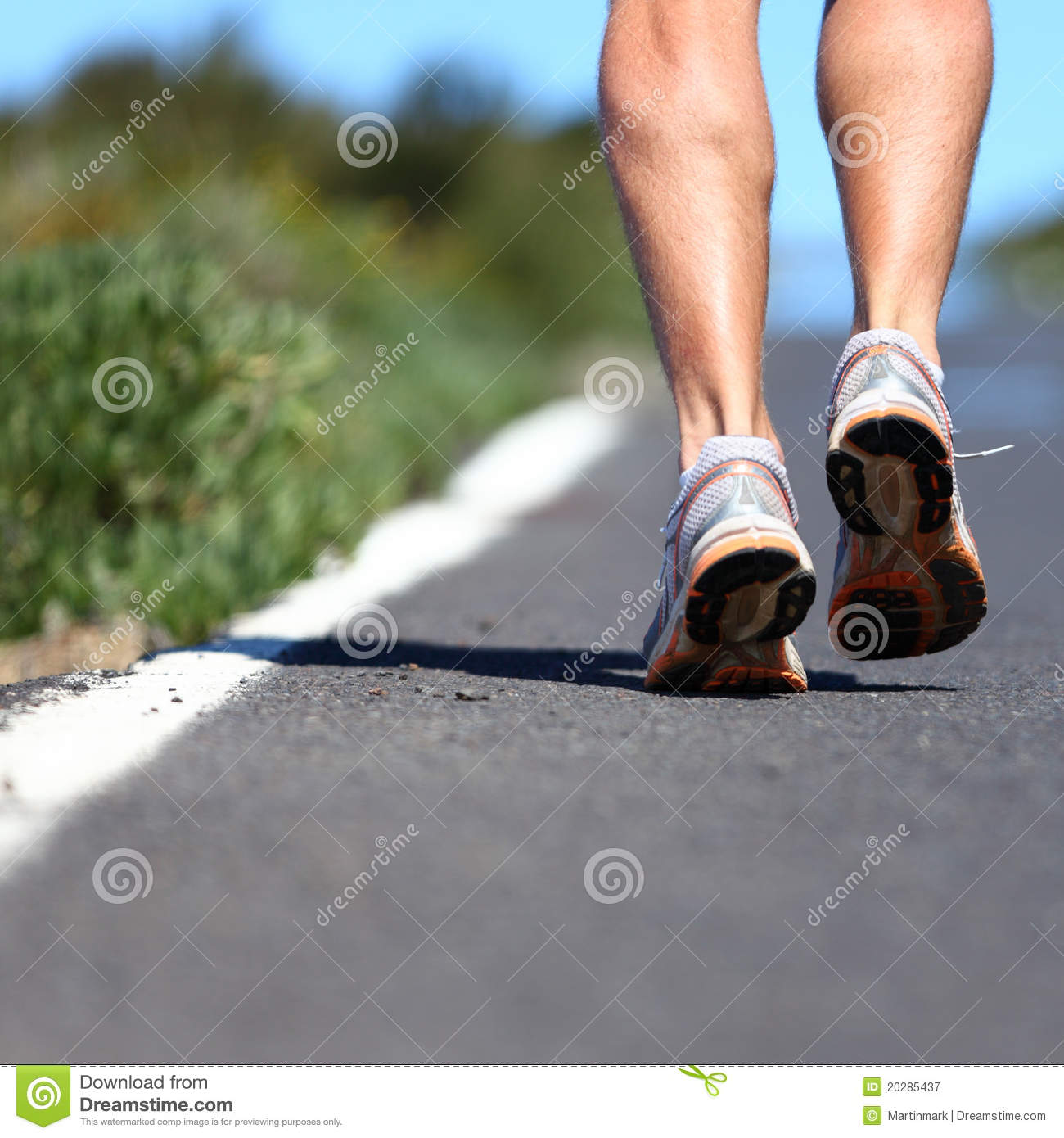 Running shoes on road
