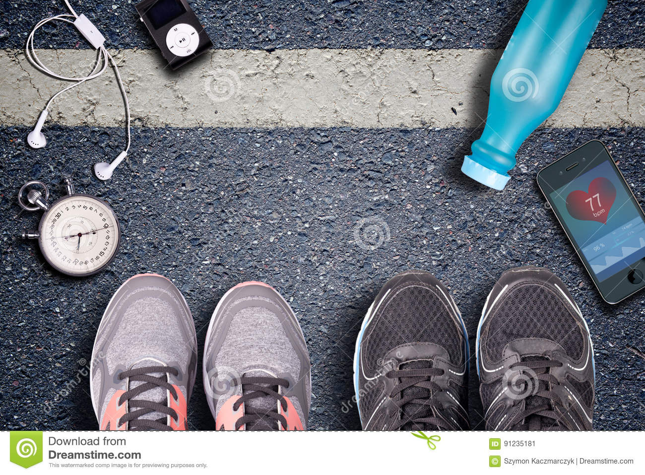 Running shoes and stopwatch. Hart rate monitor and watch whit pulse.