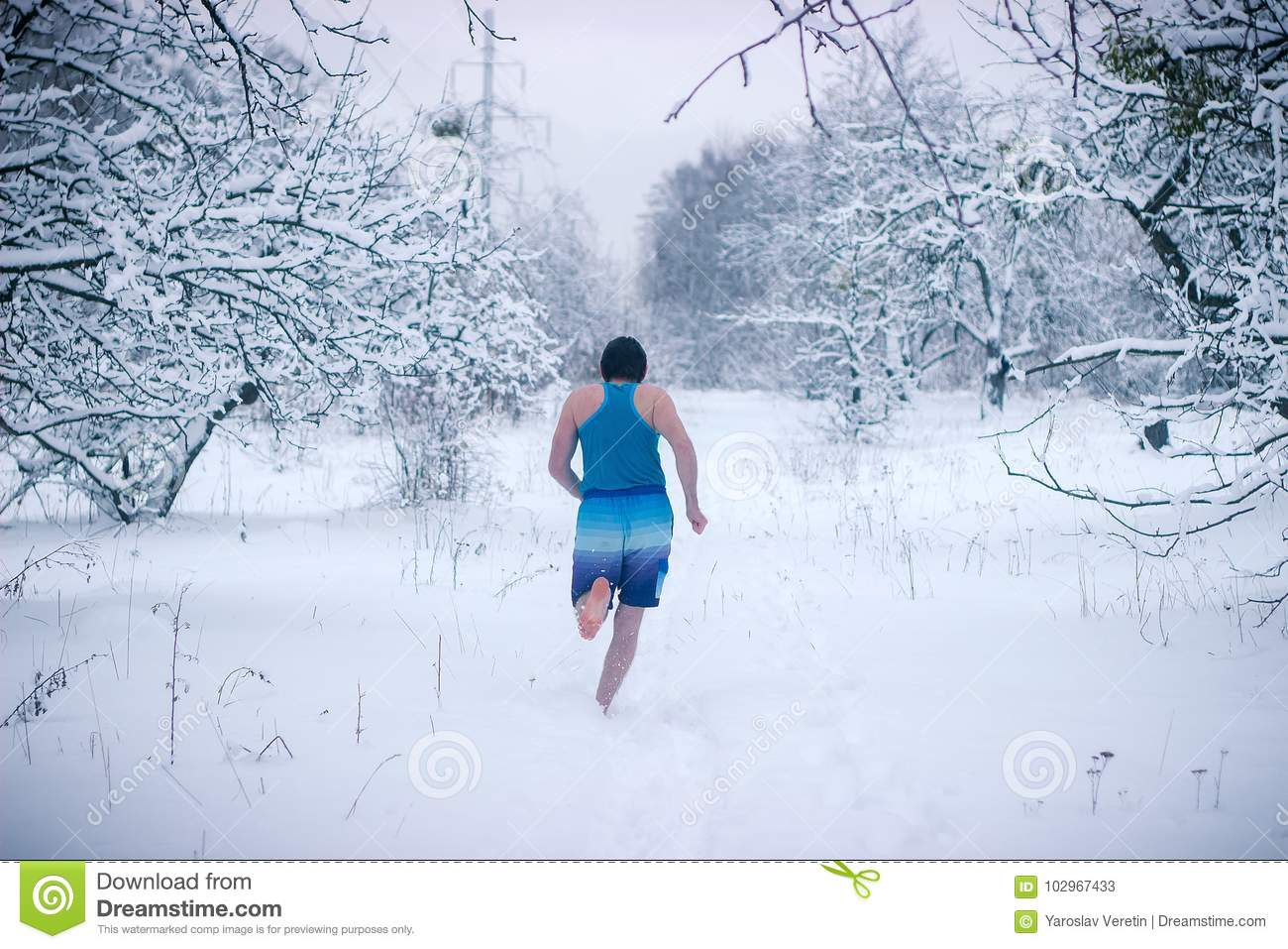 Running in the snow naked