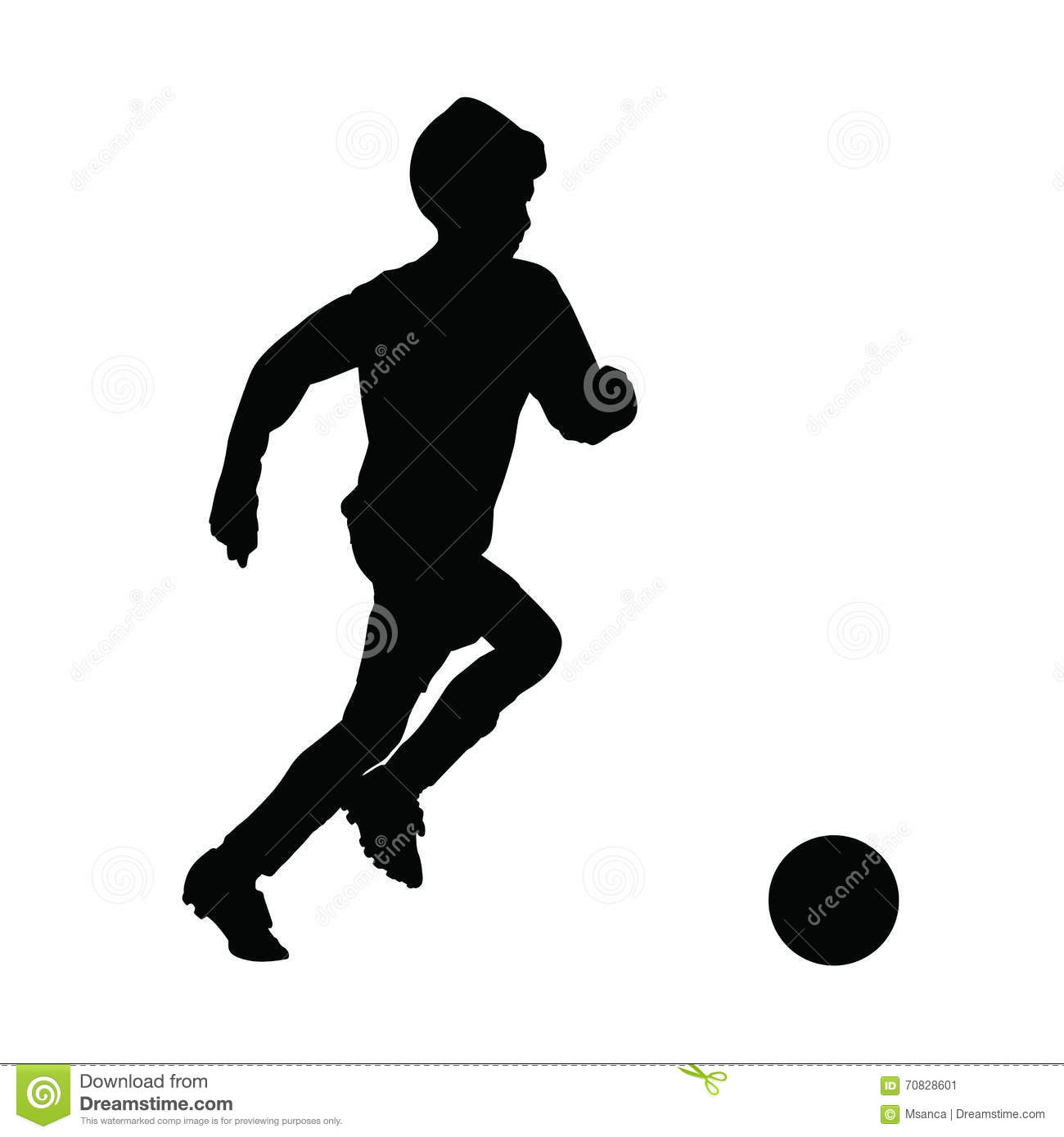 Running Soccer Player Vector Silhouette Stock Vector ...