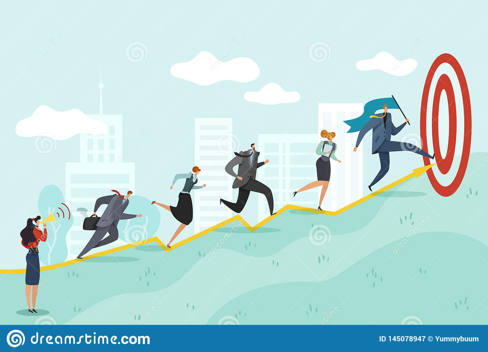 Running to target. Business persons racing to success corporate professional reaching, ambition goals vector concept