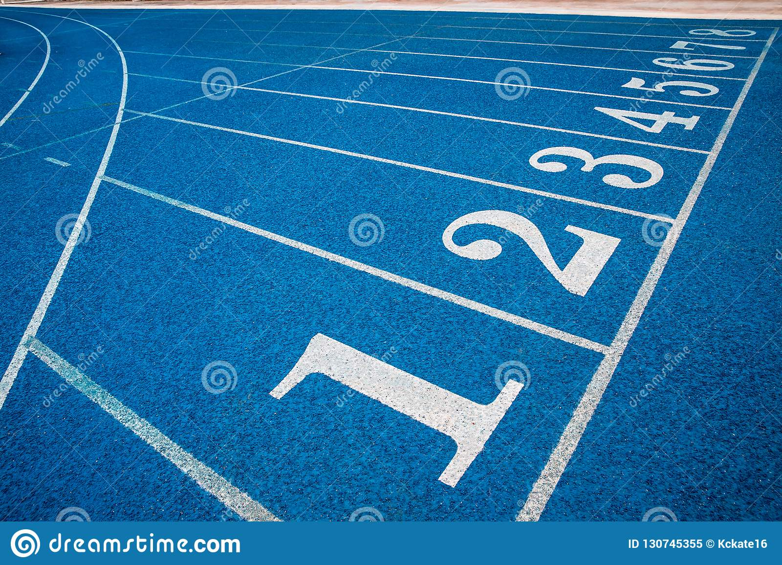 Running Track With Number  Blue Running Track In Stadium