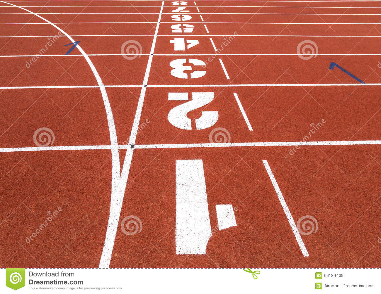 Running track with numbers.