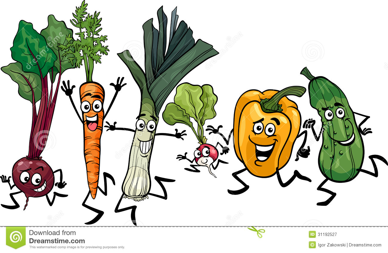 Group Of 6 Cartoon Characters : Running vegetables cartoon illustration royalty free stock