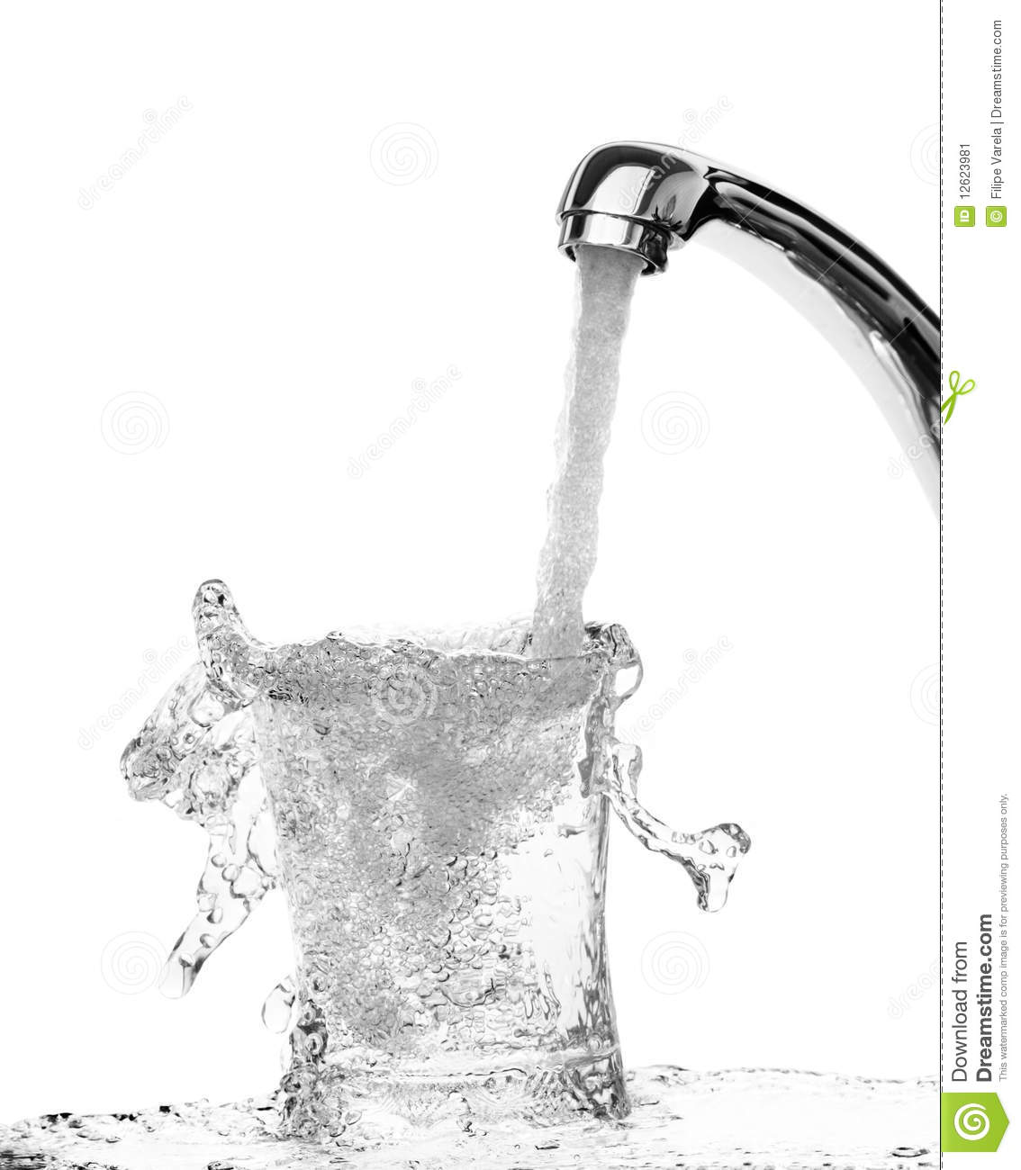 running water into a glass stock image  image of drinking