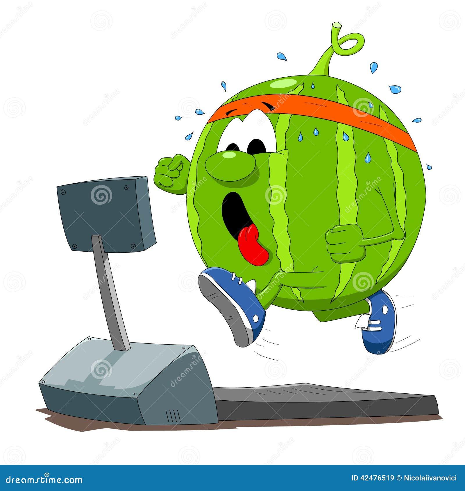 Funny watermelon character on running machine illustration Watermelon Cartoon Characters