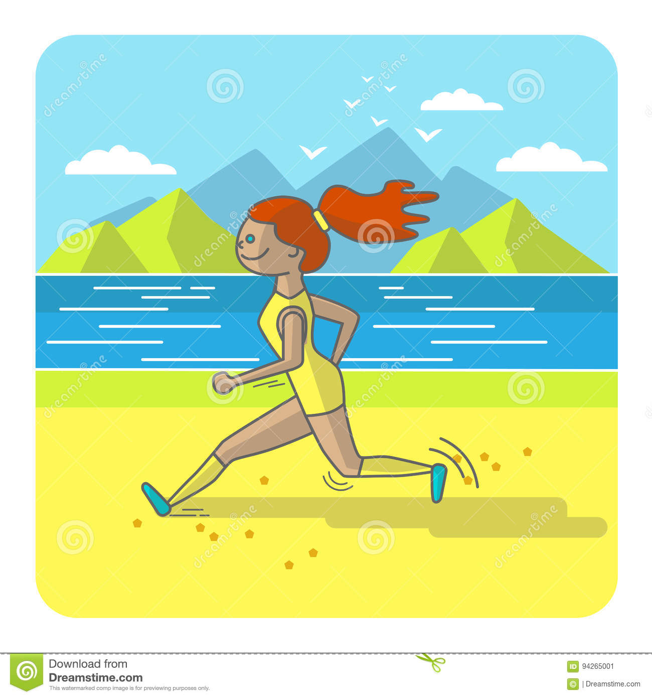 Running Woman Color Sport Poster Print Or Banner Vector