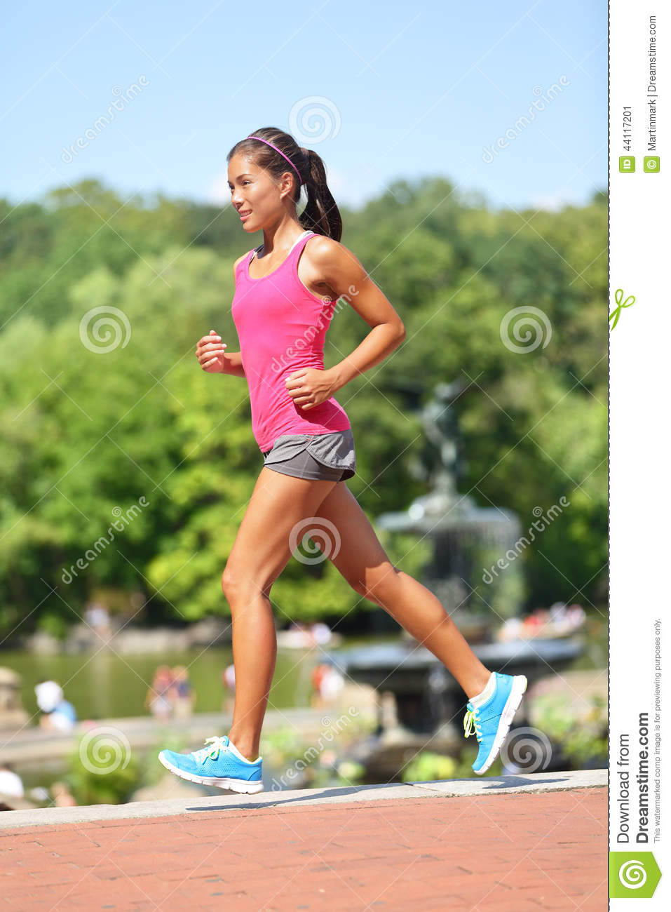 Running Woman Jogging New York City Central Park Stock