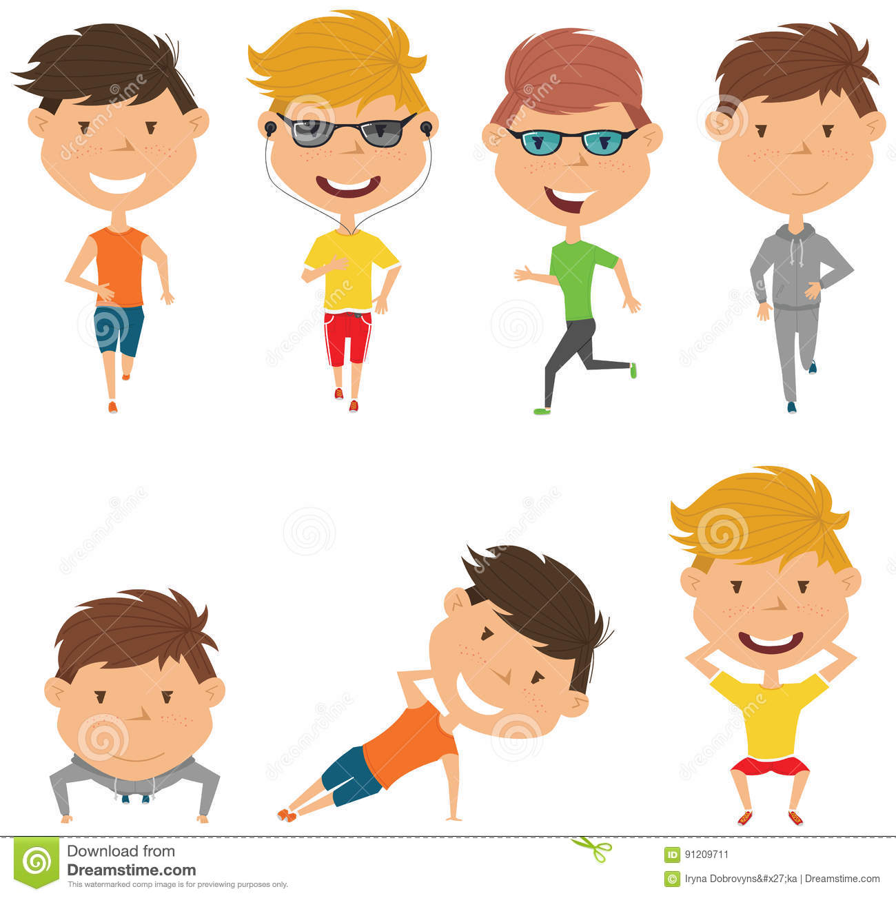 Running and work out boys  stock vector  Illustration of