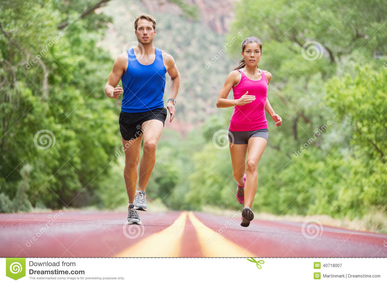 Running Young People - Jogging Training In Nature Stock Photo - Image ...