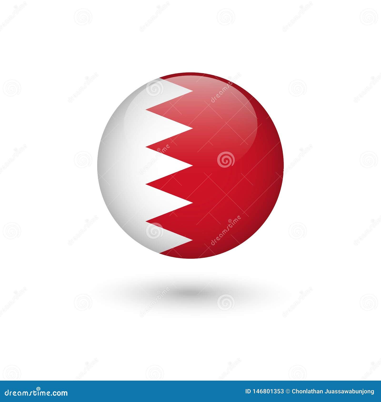 Runt glansigt för Bahrain flagga
