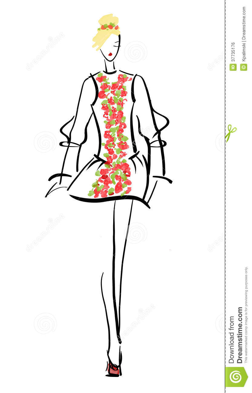 Line Drawings From D Models : Runway fashion model stock photo image of drawing sketch