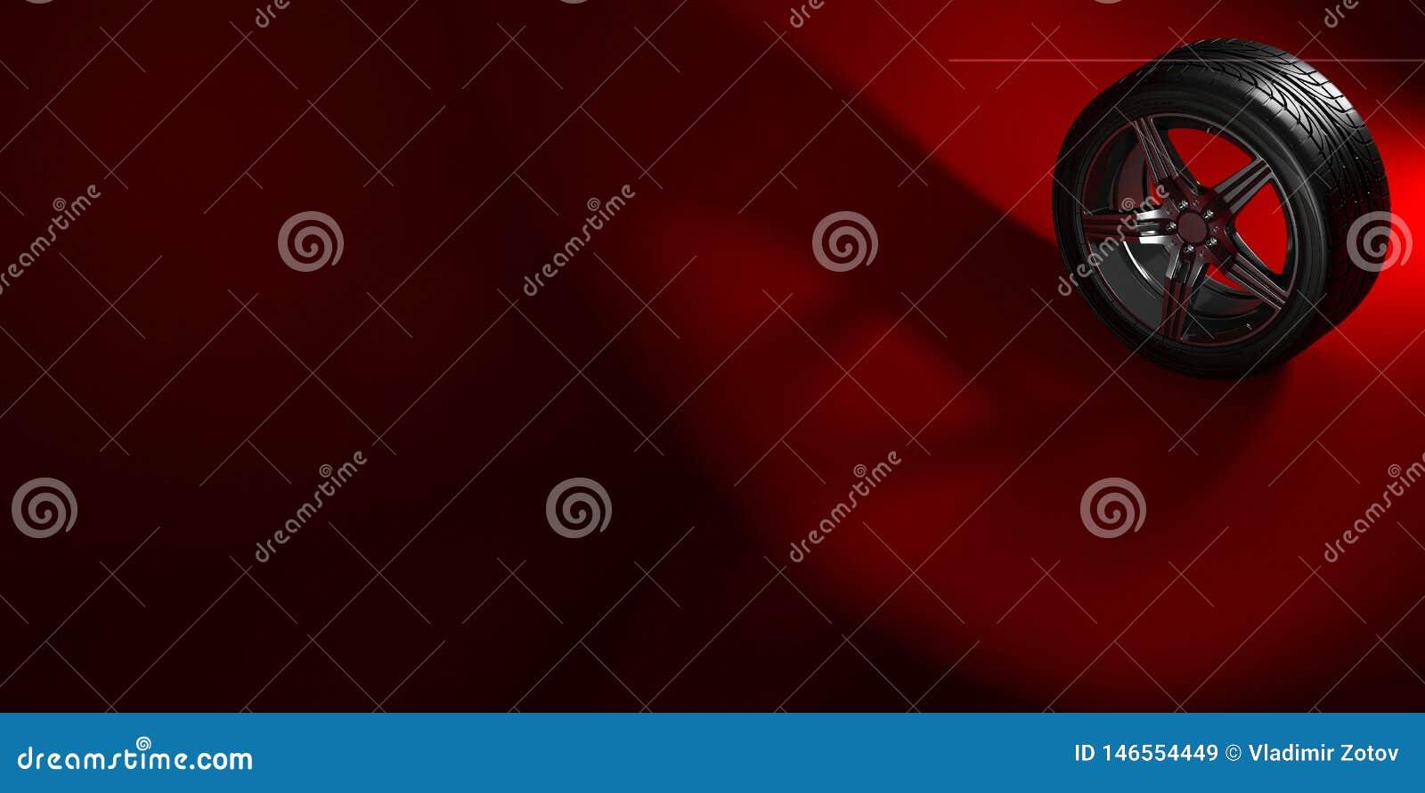 Ruota di automobile isolata su un fondo rosso con ombra pneumatico Progettazione della copertura del libretto del manifesto illus