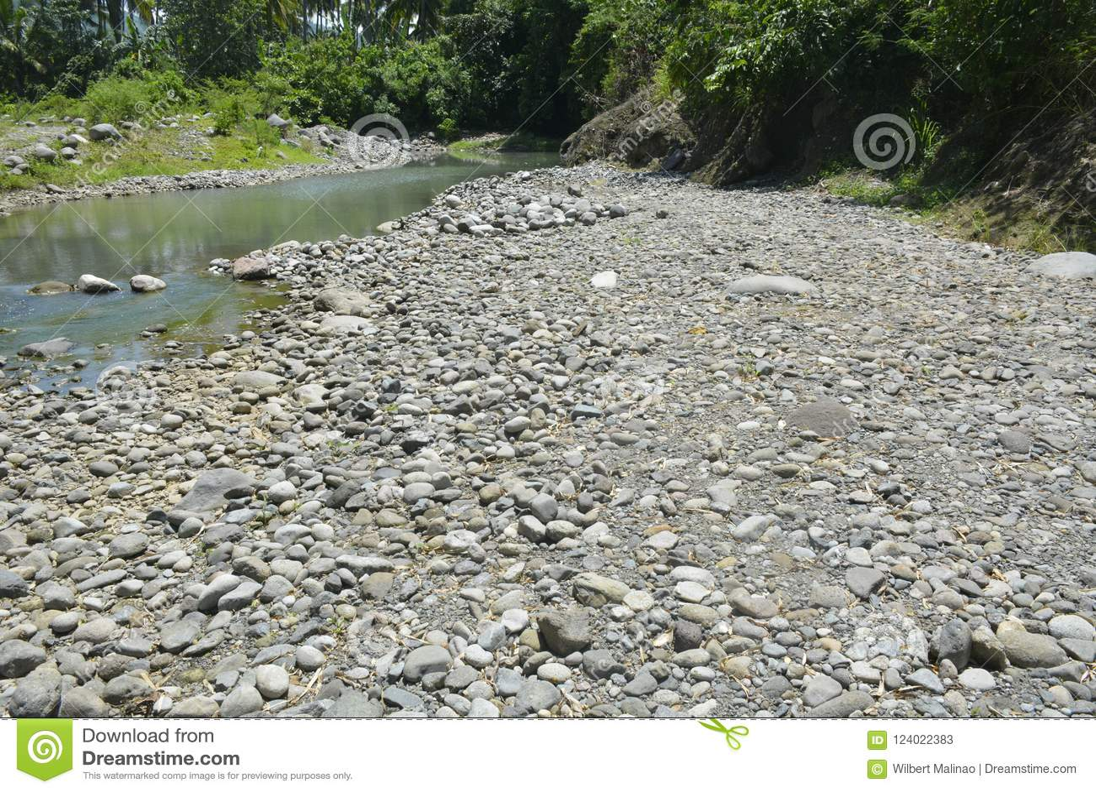 Ruparan河岸, Digos市,南达沃省,菲律宾的被淤积的部分在barangay Ruparan的