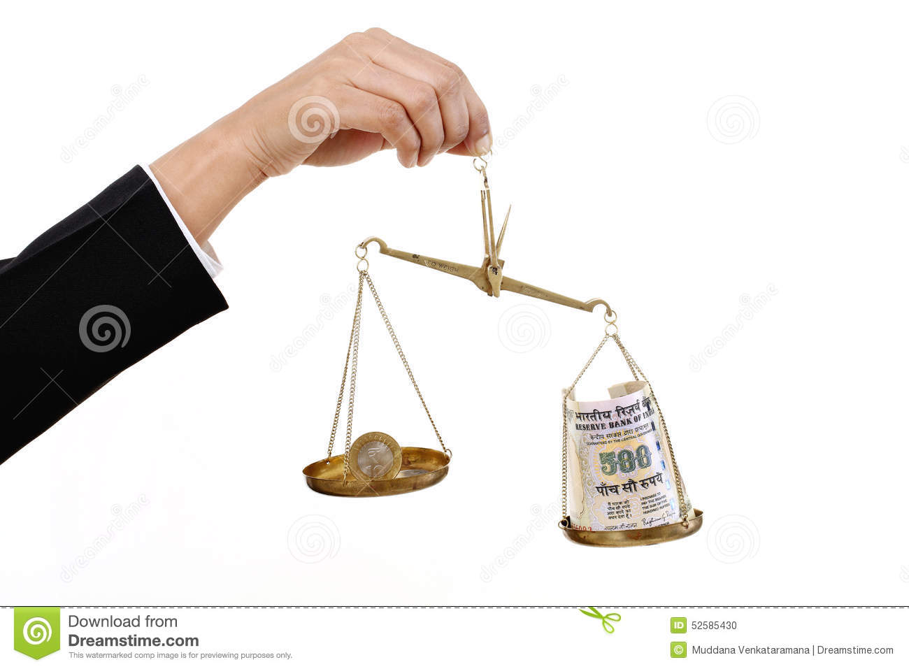 Justice scale stock image image 605751 - Rupee Coin And Indian Currency Notes In Justice Scale Stock Photo