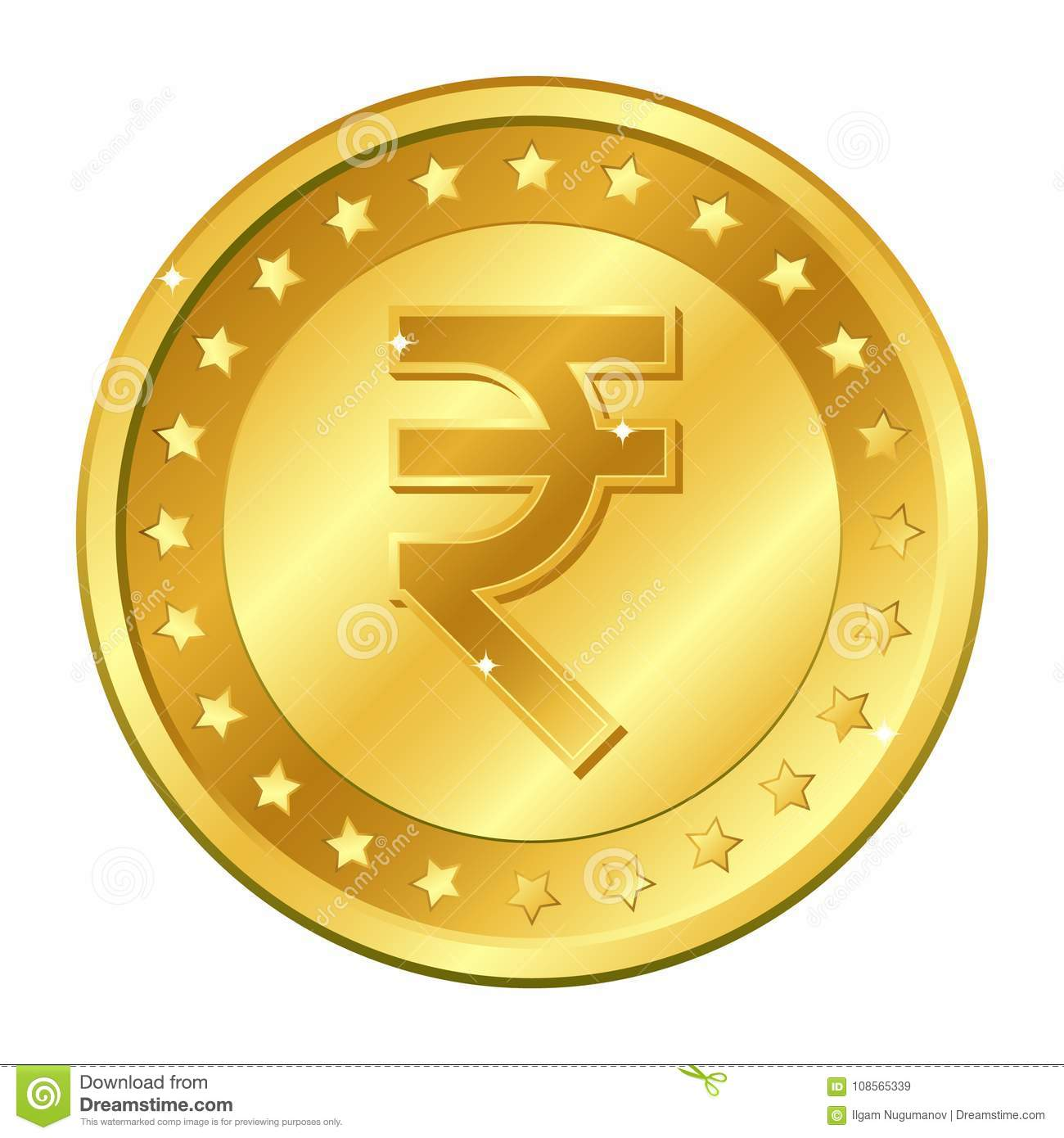 Rupee currency gold coin with stars. Indian currency. Vector illustration isolated on white background. Editable elements and glar