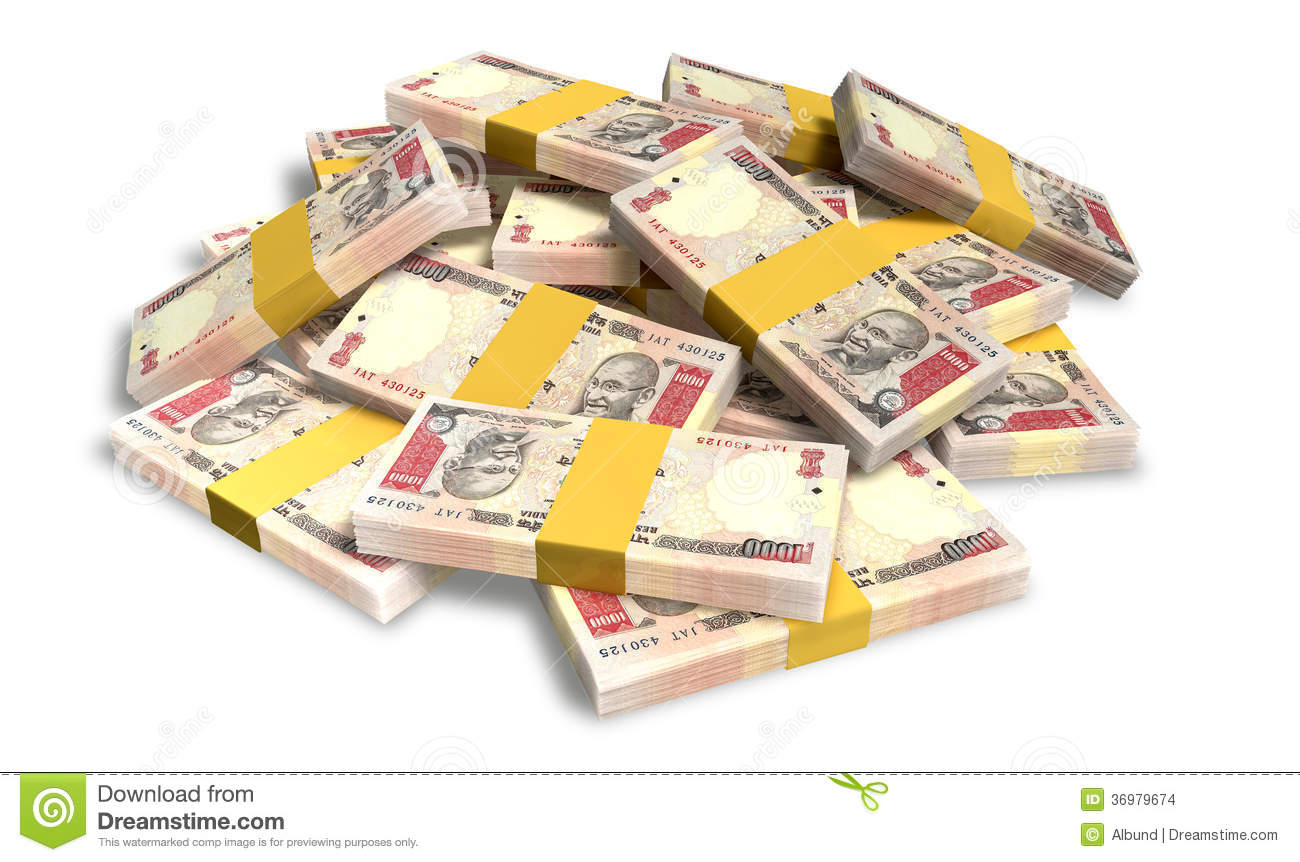 Rupee Notes Scattered Pile Stock Images - Image: 36979674