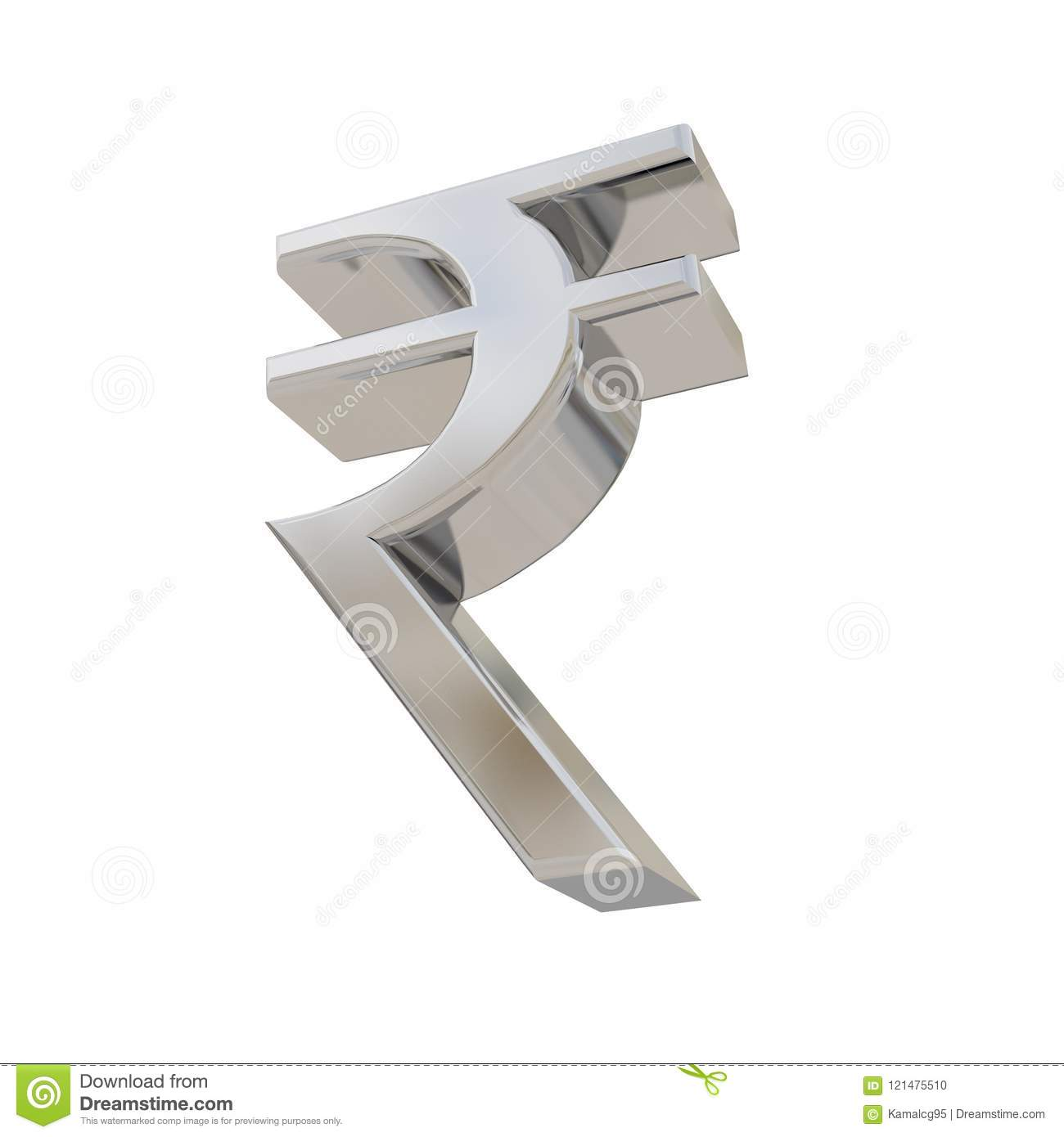 Rupee Silver Currency Symbol Isolated On White Stock Illustration