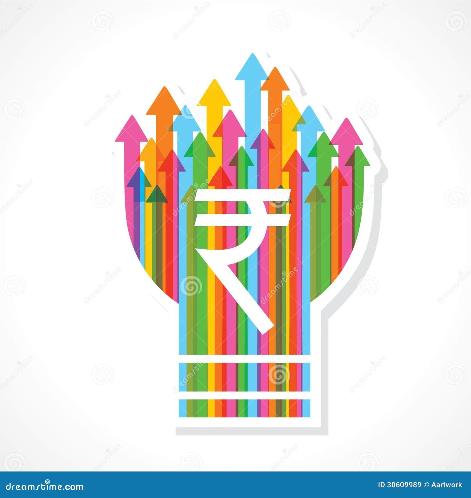 Rupee symbol on colorful arrow bulb stock vector illustration of rupee symbol on colorful arrow bulb biocorpaavc