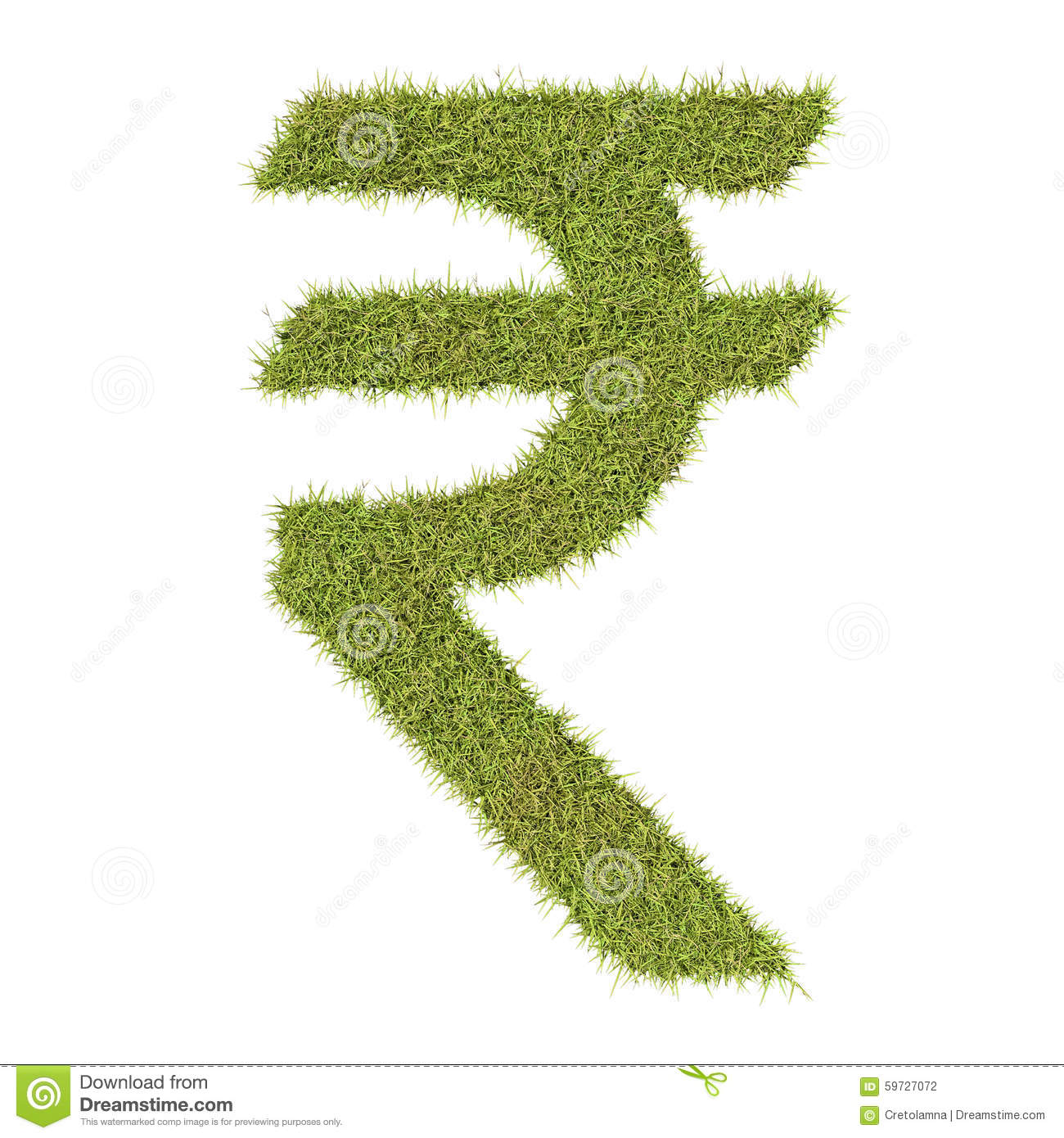 Rupee Symbol Made From Grass Stock Illustration Illustration Of