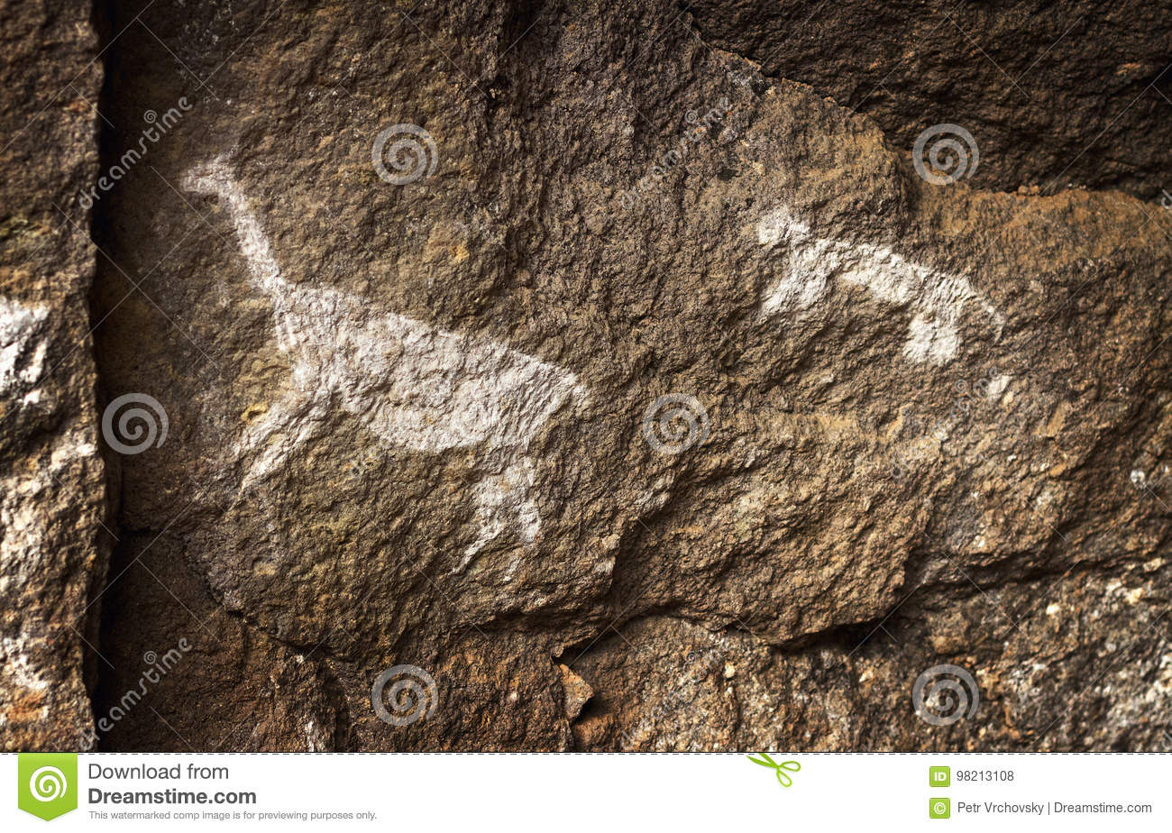 Rupestrian rock art in Sumbay Cave from paleolithic era, Southern Peru