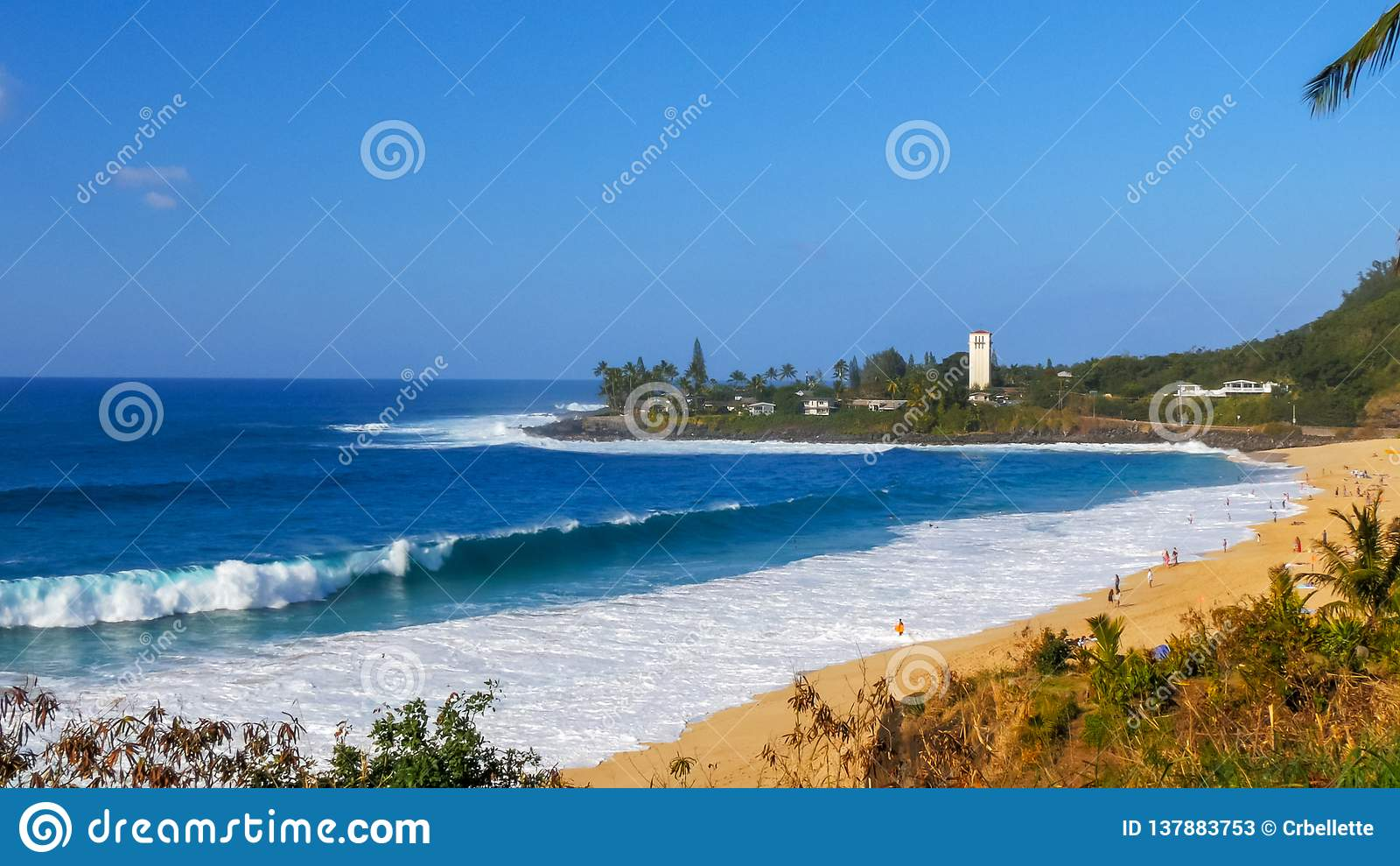 Rupturas da onda na praia no lugar grande famoso da onda, baía do waimea