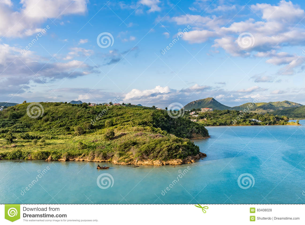 Rural corner of the island of Antigua at sunrise