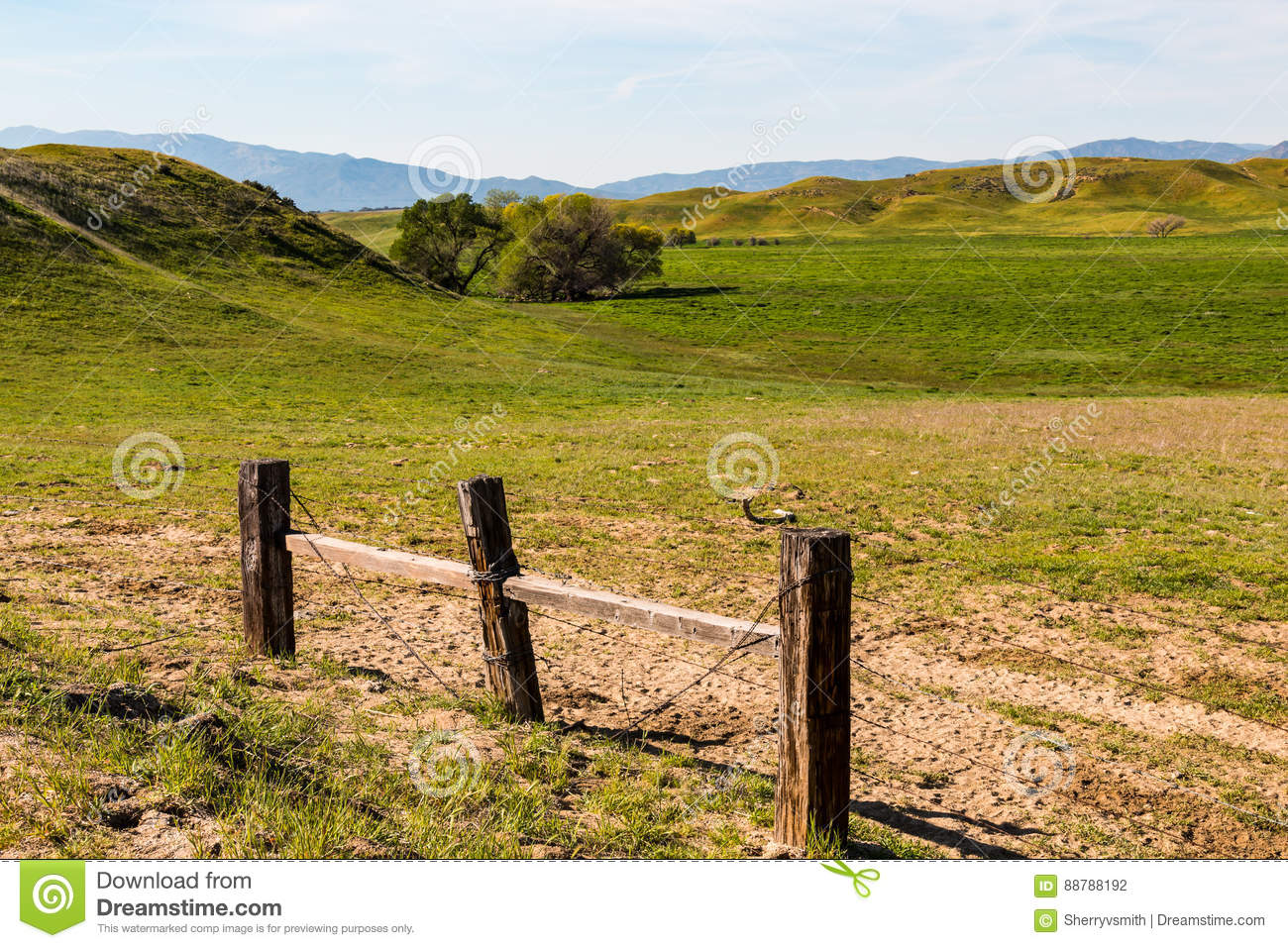 Rural Countryside With Barbed Wire Fence Stock Photo - Image of ...
