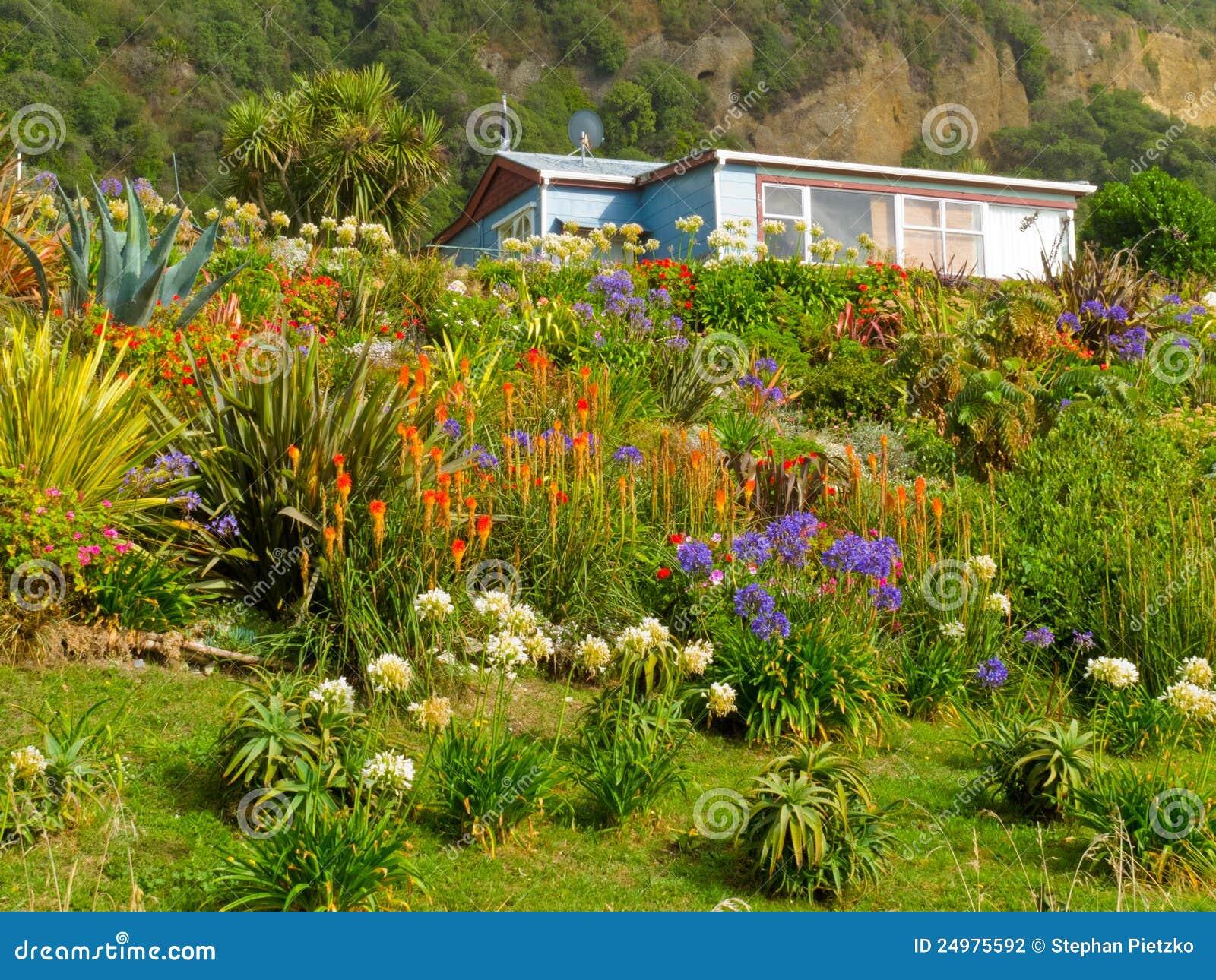 Rural dream house in lush flowering natural garden stock for Dream plants for the natural garden