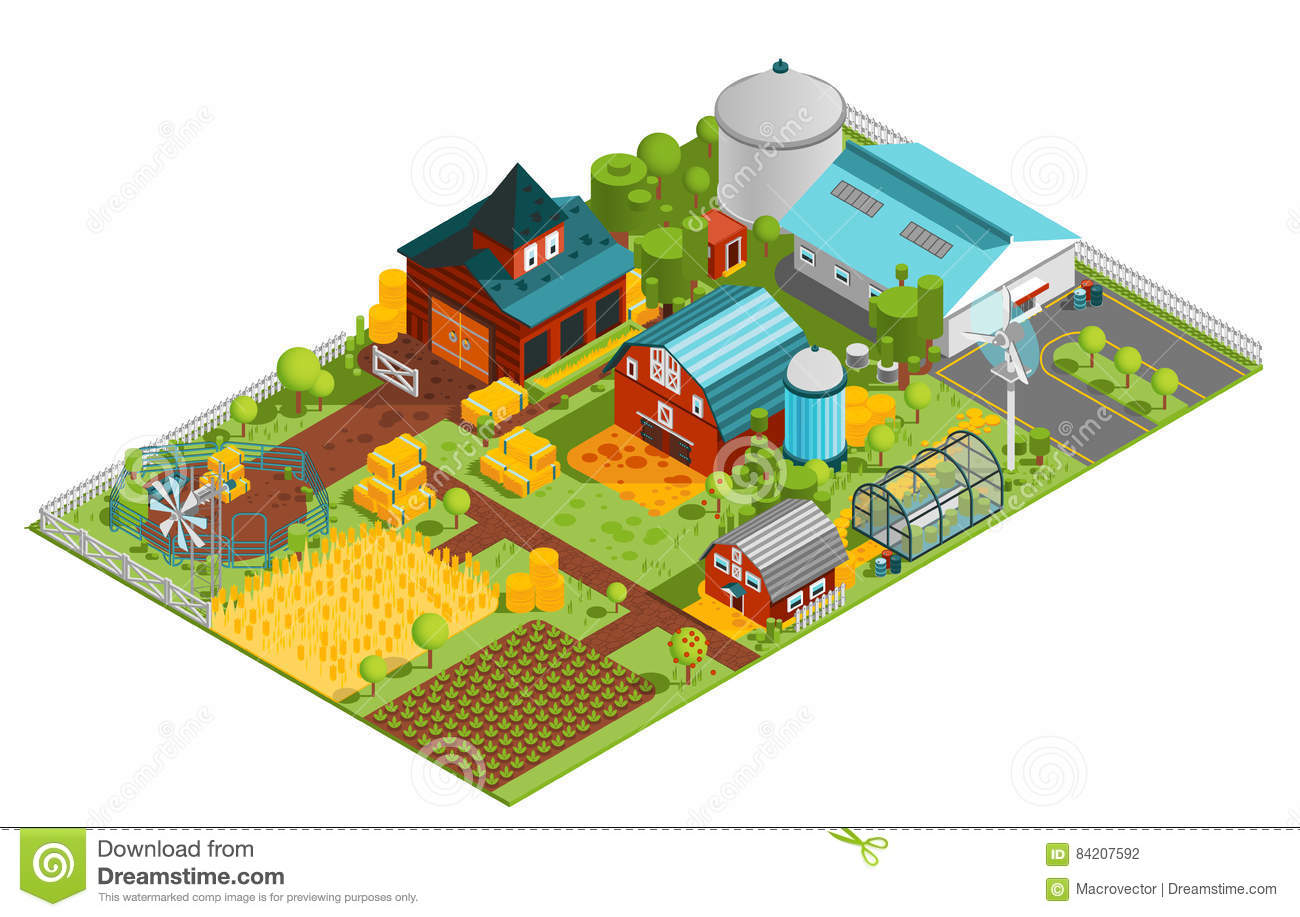 Rural farm isometric composition stock vector image for Garden shed 3x5