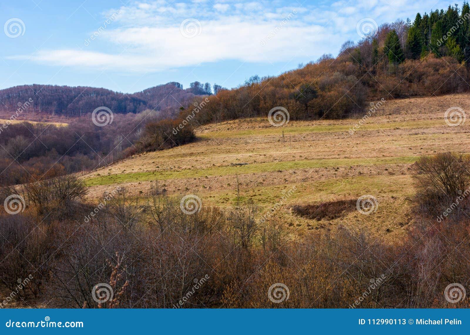 Rural fields on mountain slopes in springtime