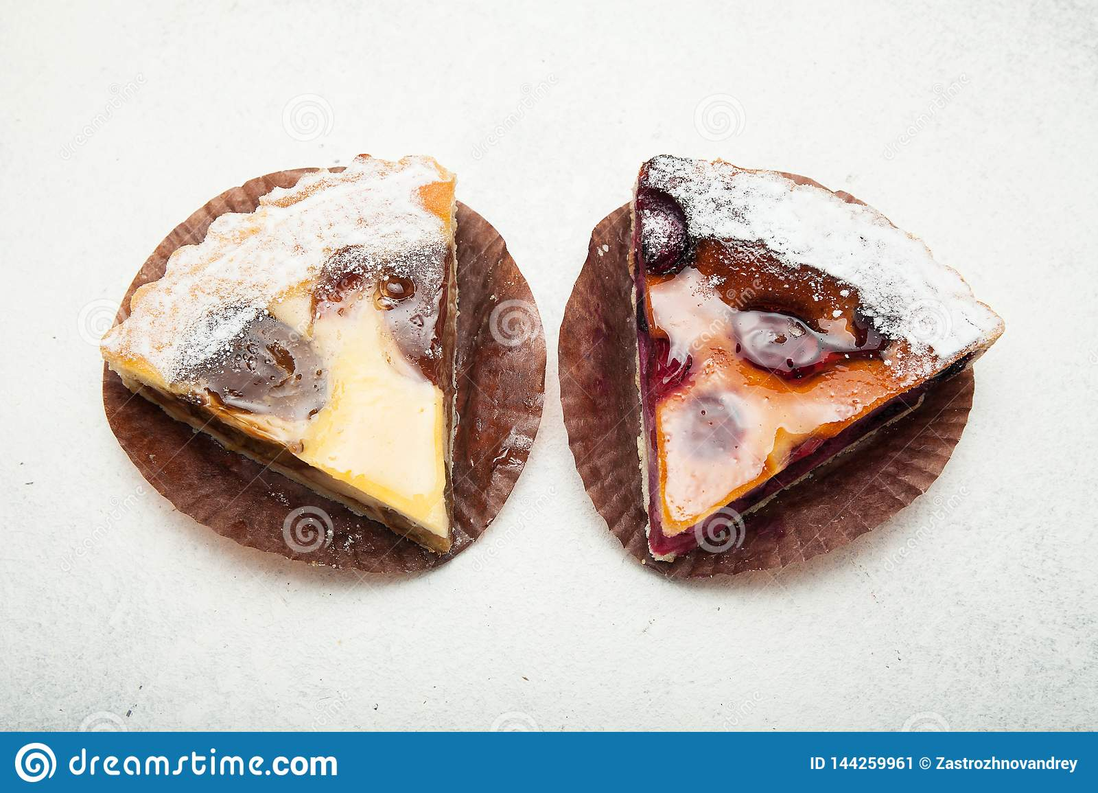 Rural fruit pies on a white background
