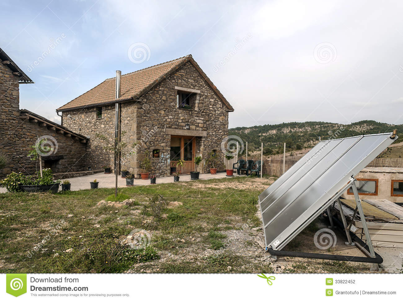Rural House With Solar Panel Stock Photo Image Of Flower