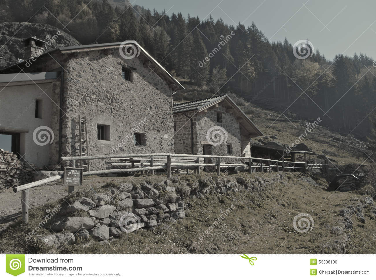Rural Huts In The Mountain Pasture Royalty Free Stock