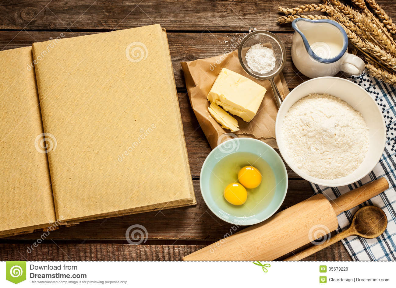 Rural Kitchen Baking Cake Ingredients And Blank Cook Book Royalty