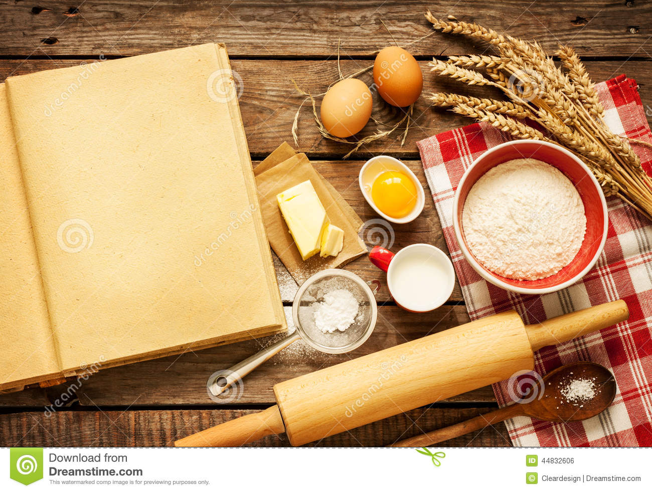 Rural Kitchen Baking Cake Ingredients And Blank Cook Book Stock Photo ...
