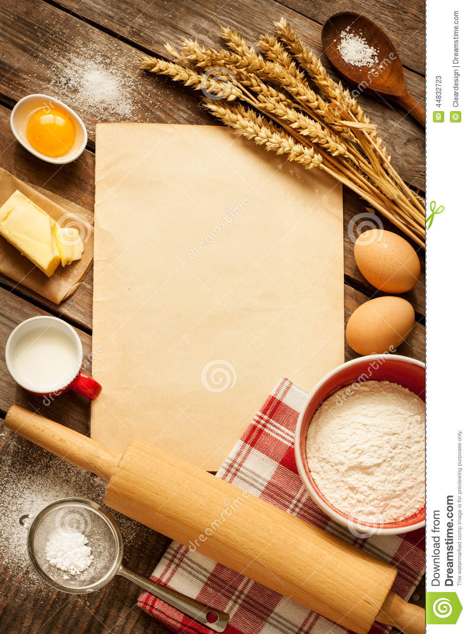 rural kitchen baking cake ingredients and blank paper