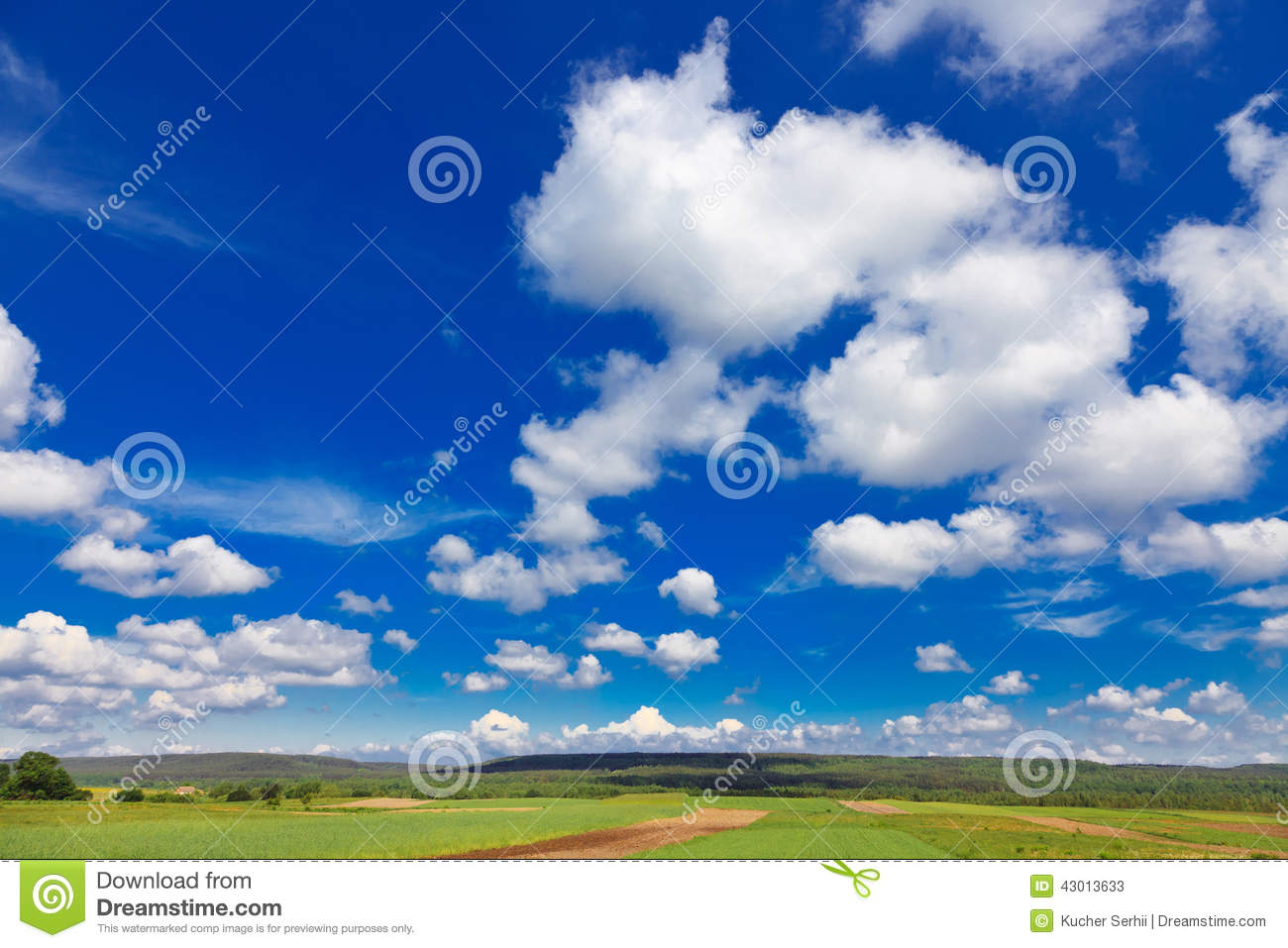 Rural landscape with blue sky and clouds