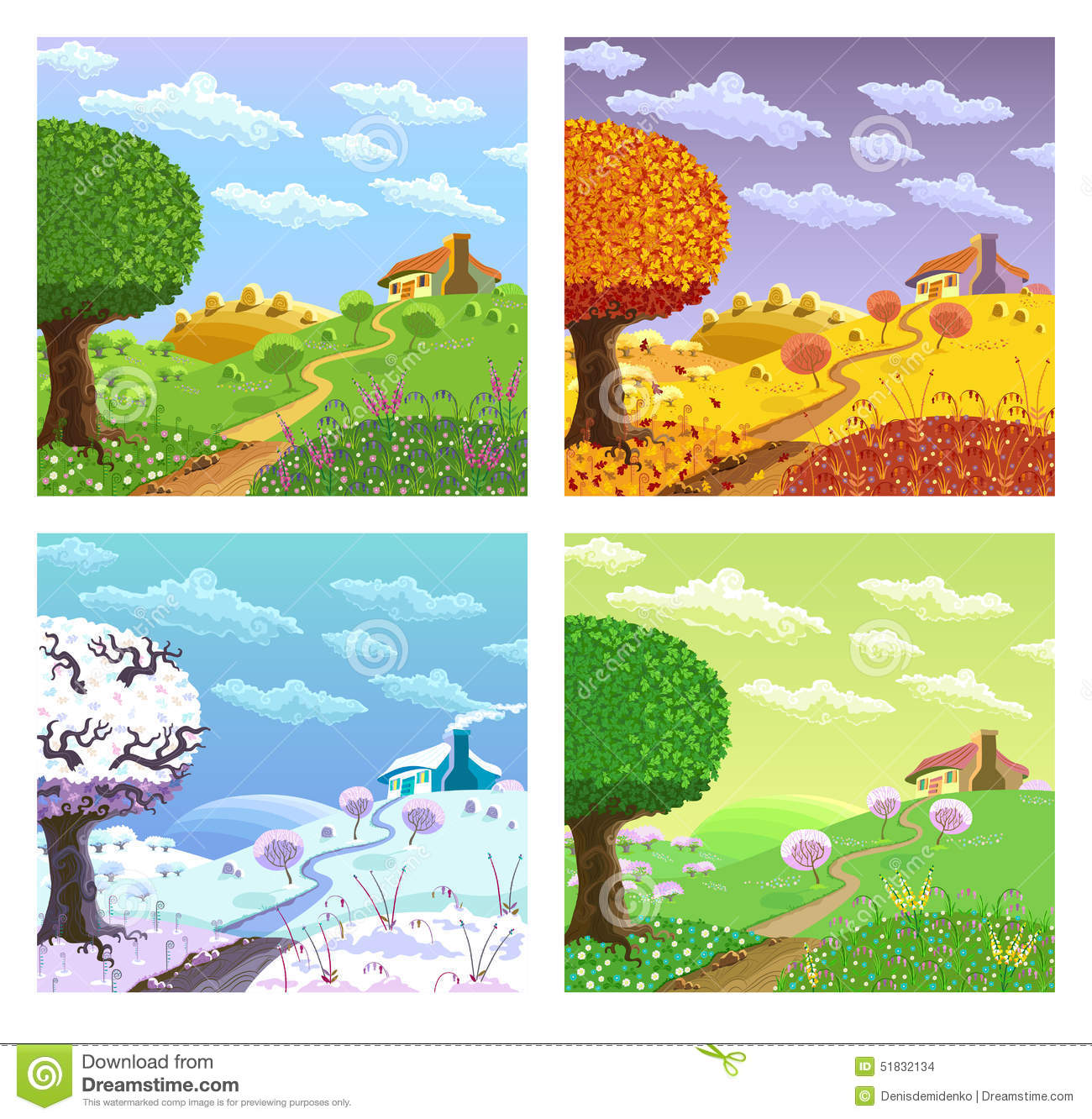 Rural Landscape Four Seasons Stock Vector Image 51832134