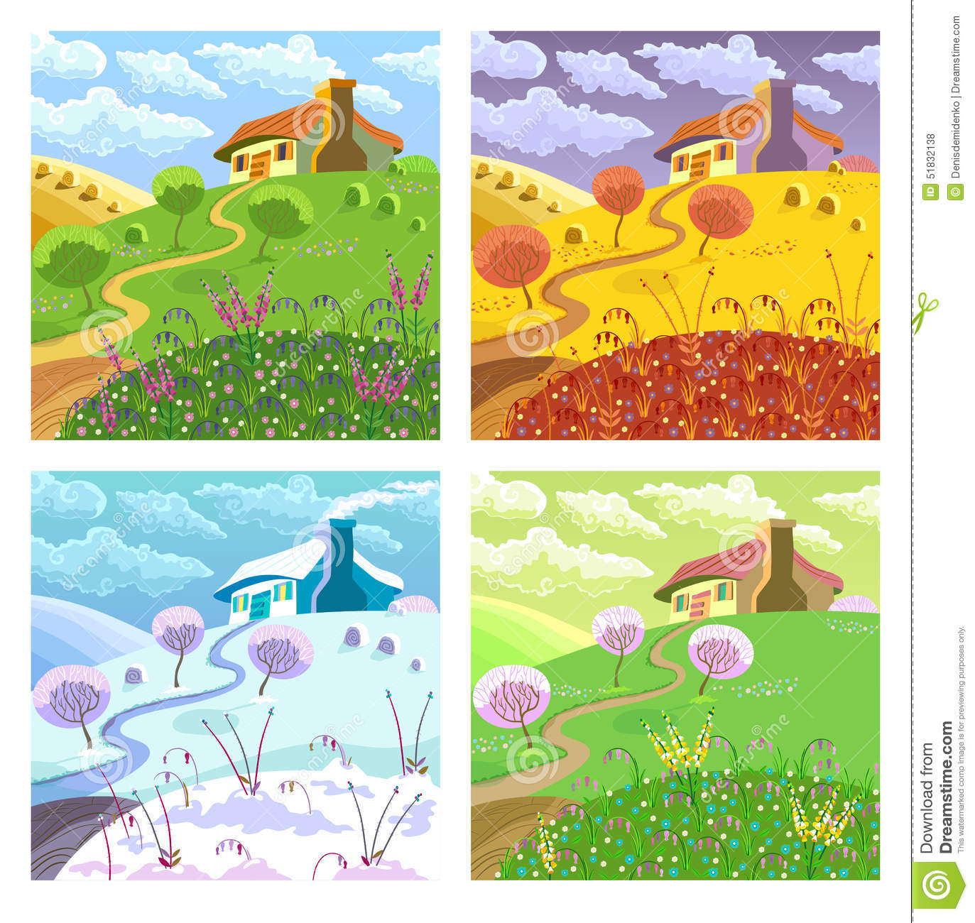 Rural Landscape Four Seasons Stock Vector Image 51832138
