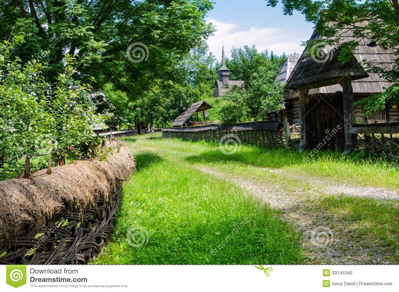 Rural landscape of an old vilage in maramures stock photo - Romanian architectural styles ...